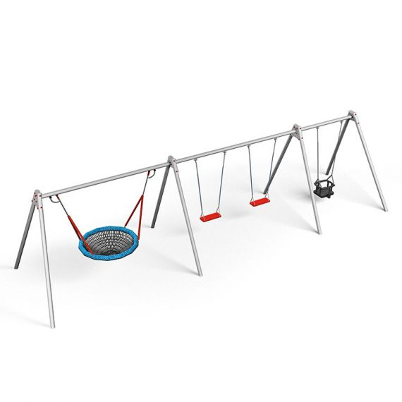 Module Swing Frame with 2 Safety Swings- 1 Baby Swing & 1 Birds Nest ...